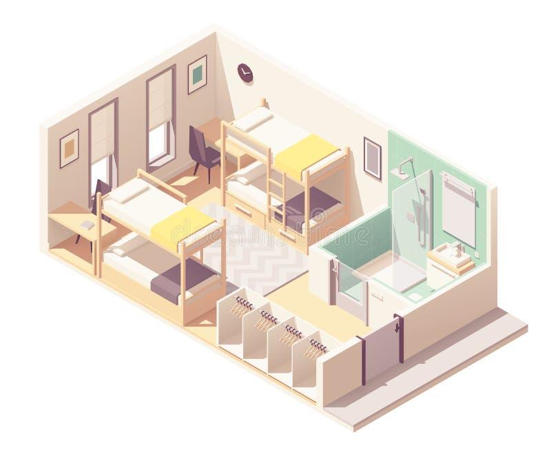 Vector isometric hostel room stock illustration