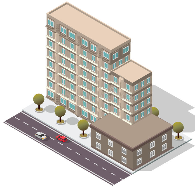 Free Vector Isometric Hotel Apartment Building Royalty Free Stock Photos - 61781688