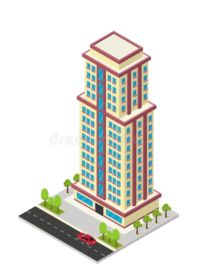 Vector isometric hotel, apartment, or skyscraper building. Vector isometric hotel, apartment, school, or skyscraper building, isolation on white royalty free illustration