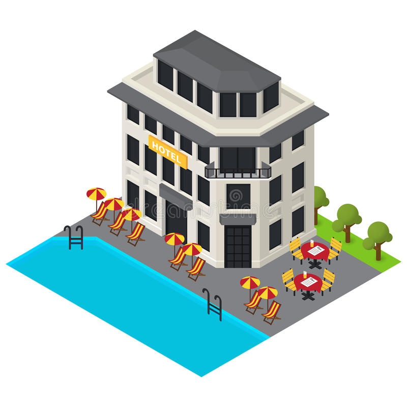 Vector isometric hotel building icon. 3d exterior vector illustration