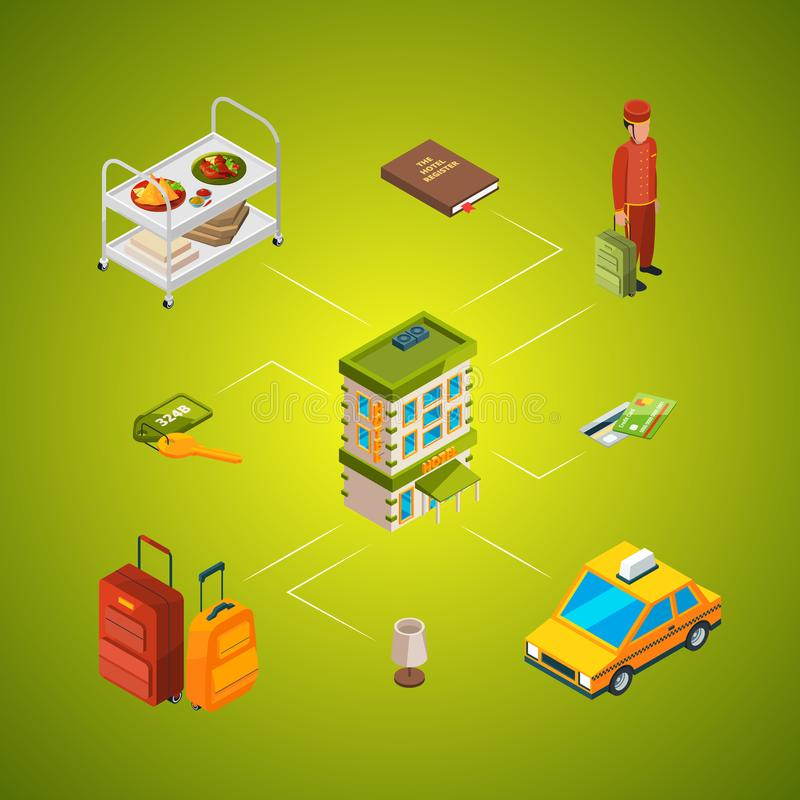 Vector isometric hotel icons infographic concept illustration. Building and service room, taxi and registry royalty free illustration