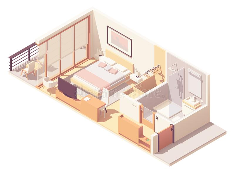 Vector isometric hotel room cross-section vector illustration