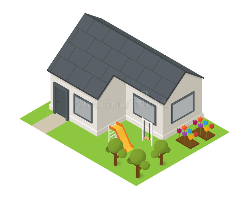Vector isometric house building icon. Vector isometric residental house. Flat building icon with flowers trees and playground stock illustration