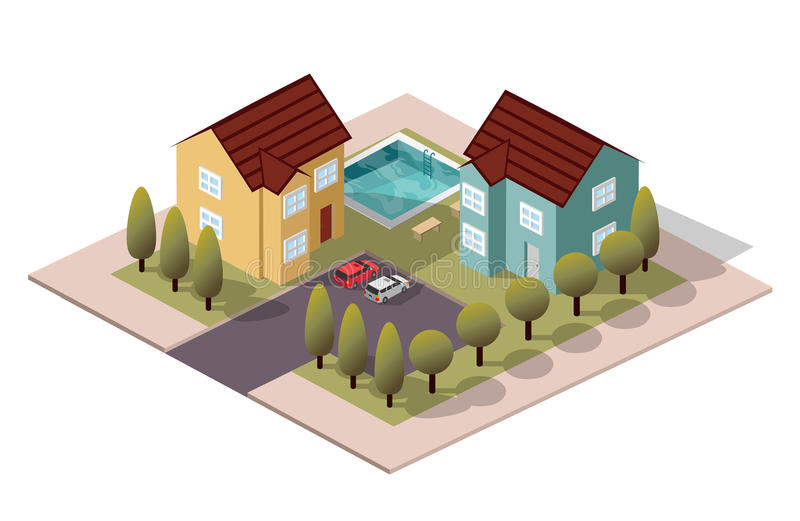 Vector Isometric House Neighbors. For city map stock illustration