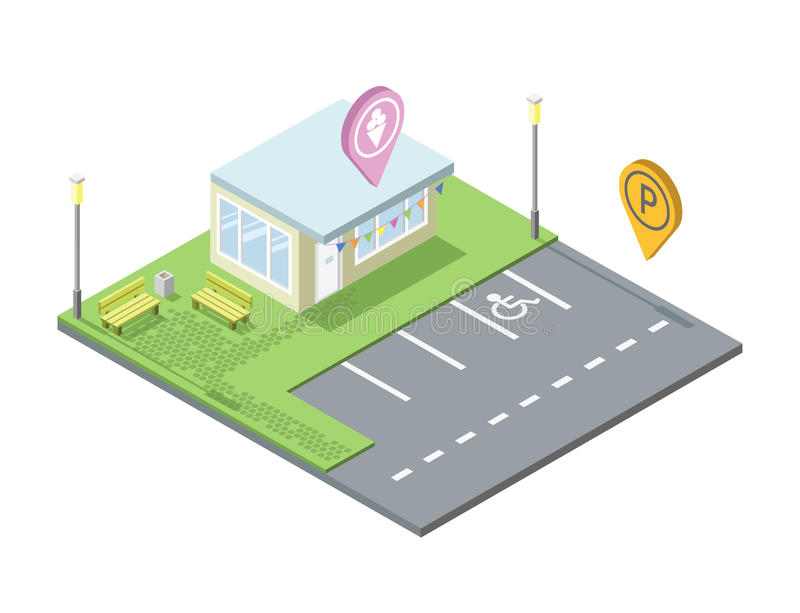 Vector isometric ice cream shop with parking and place for rest, pin geotag stock illustration