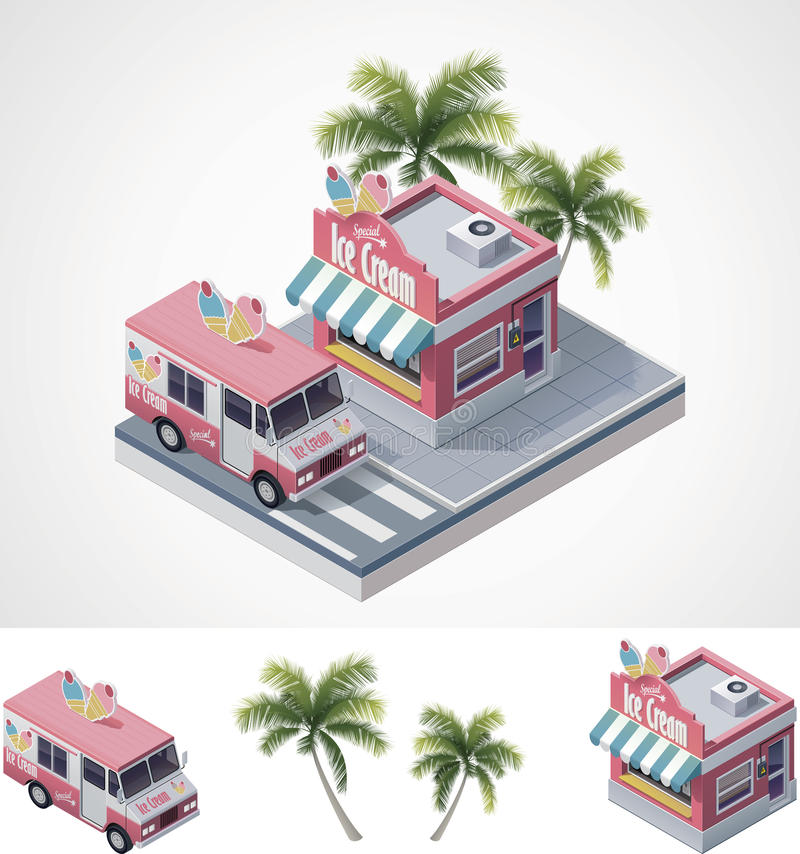 Download Vector Isometric Ice Cream Store And Truck Stock Photo - Image: 25813320