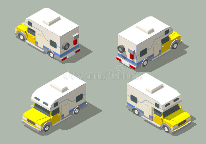 Vector isometric icon of camper stock illustration