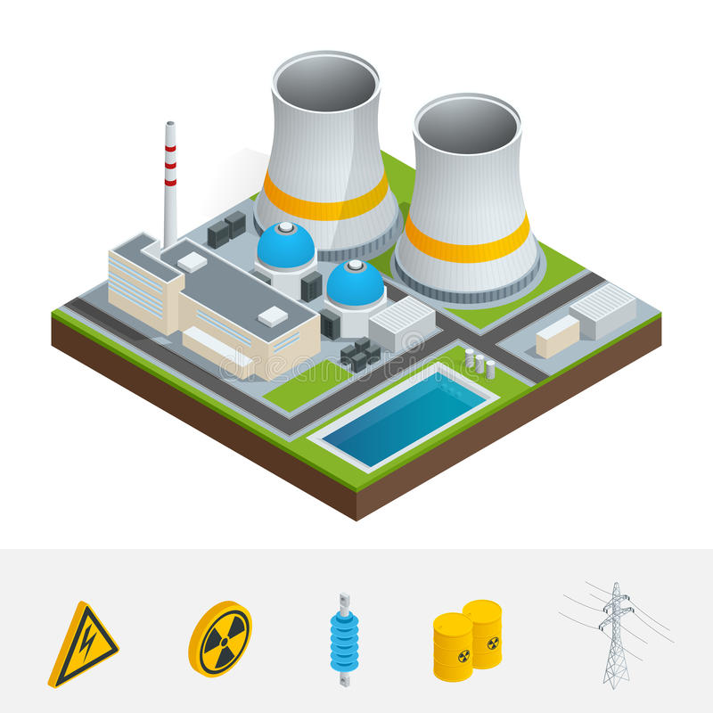 Vector isometric icon infographic element representing nuclear download vector isometric icon infographic element representing nuclear power station reactors power lines ccuart Images