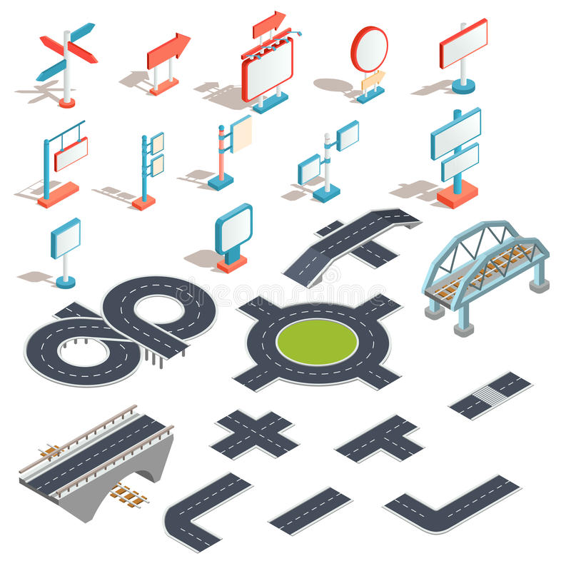 Vector isometric icons of billboards, advertising banners, road signs, direction signs, road sections royalty free illustration