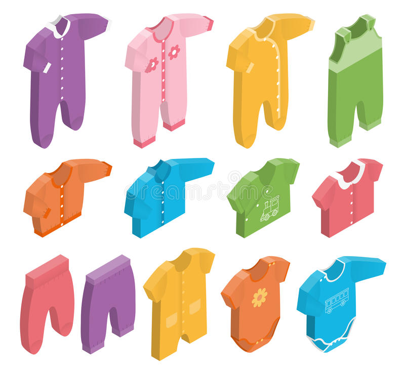 Vector isometric icons of newborn baby clothes. stock illustration