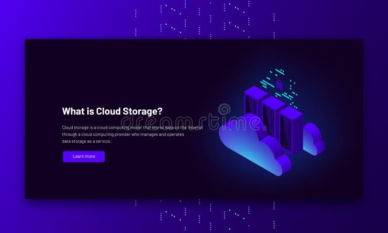 Vector isometric illustration data center cloud connection, hosting server computer, information database stock illustration