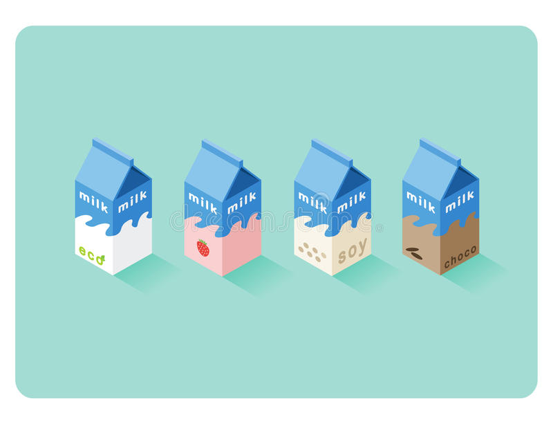 Vector isometric illustration of different flavor milk boxes royalty free illustration