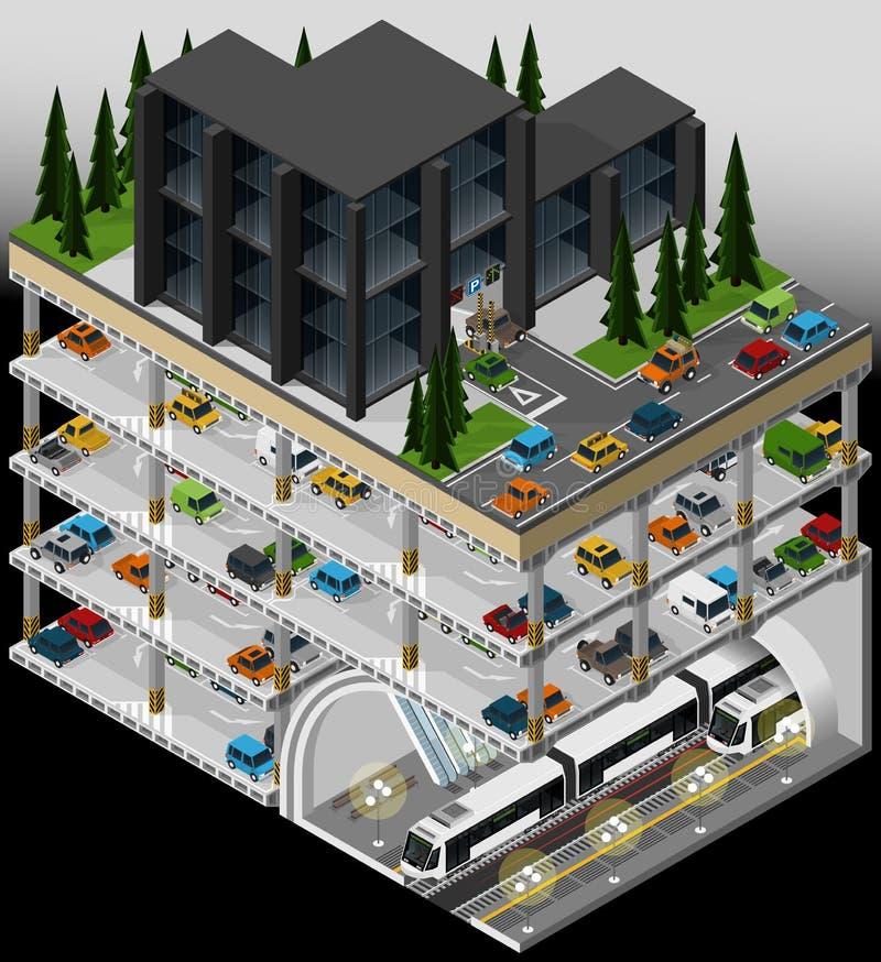 Subway transport hub and multi storey car park. stock illustration