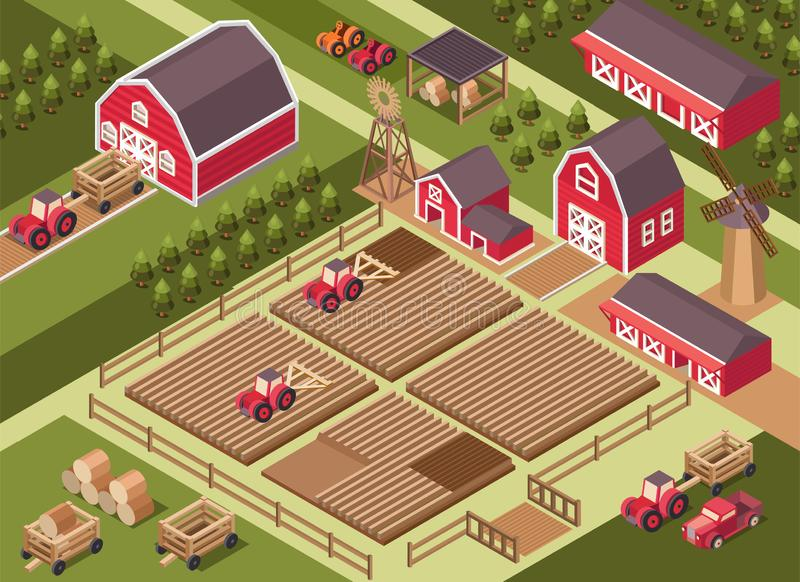 Vector isometric illustration of a farm. royalty free stock image