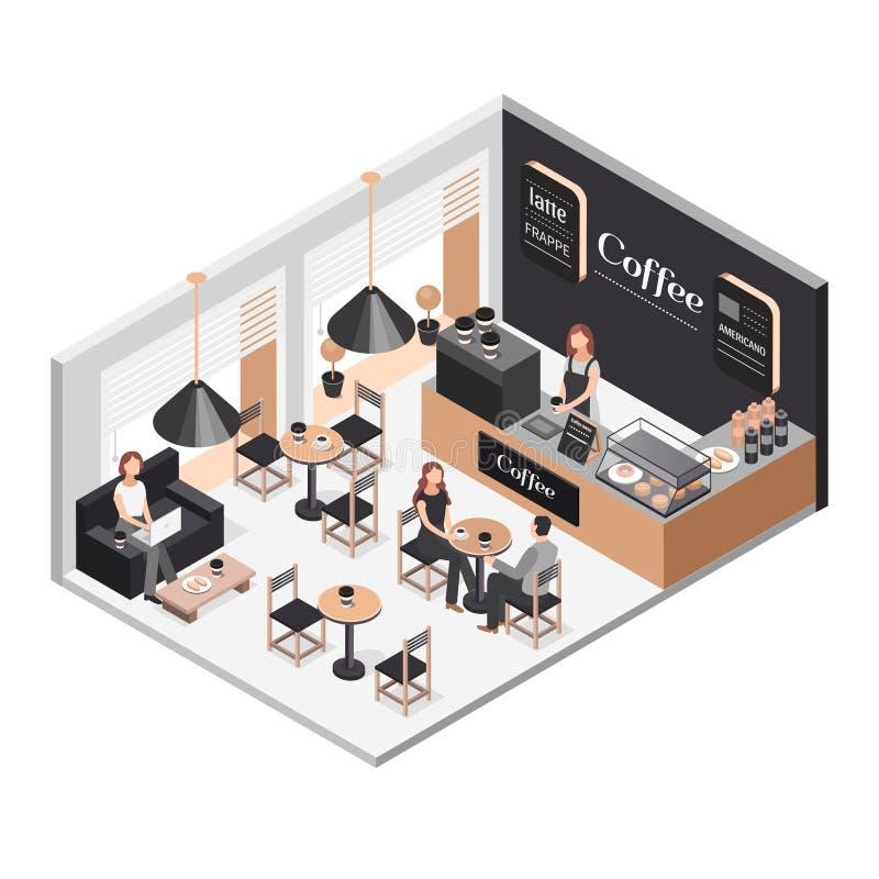 Isometric illustration of coffee shop royalty free stock photo