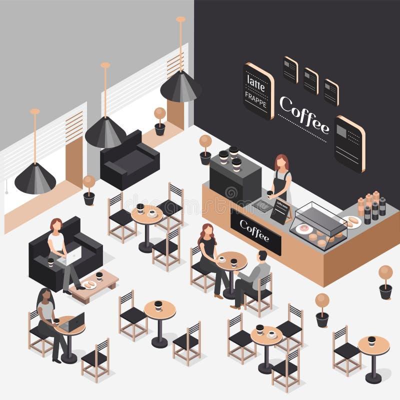 Isometric illustration of coffee shop stock image