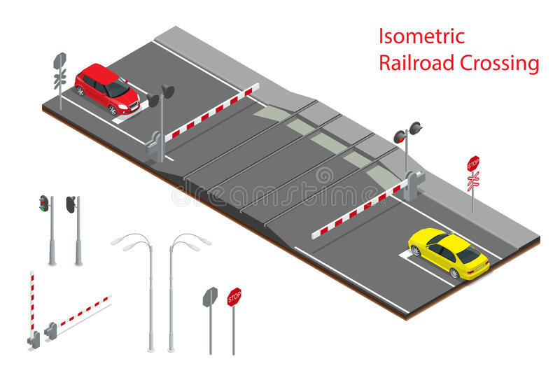 Vector isometric illustration of Railway crossing. A railway level crossing, with barriers closed and lights flashing. vector illustration