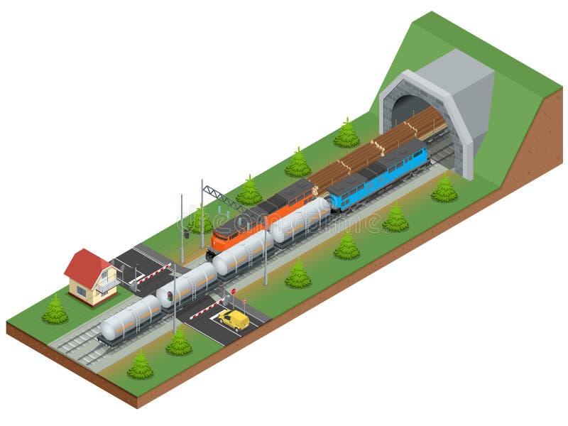 Vector isometric illustration of a railway junction. Railway junction consist of Rail covered wagon, Diesel Locomotive. Railway tunnel, Railway crossing, and stock illustration