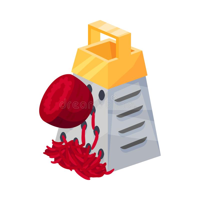 Rubbing Maroon Beetroot On A Grater With Yellow Handle Isolated On White Background. Vector isometric illustration of ripe beet rubbing on a metal grater with a royalty free illustration