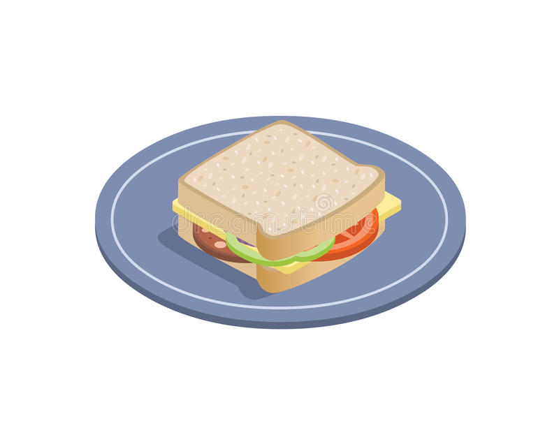 Download Vector Isometric Illustration Of Sandwich. Stock Vector - Image: 83704150