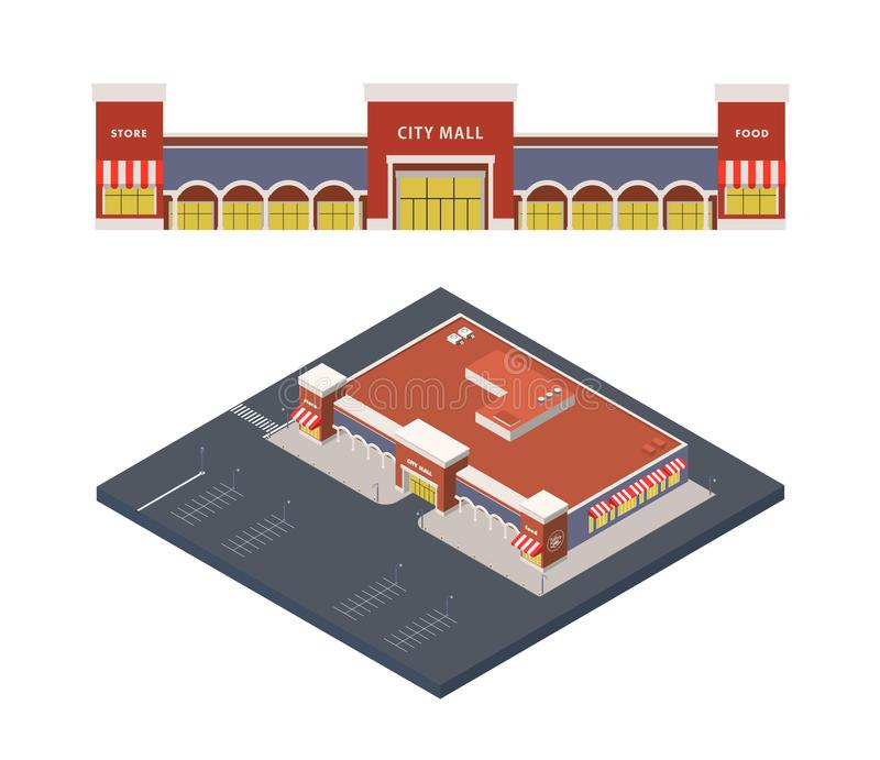 Vector Isometric illustration of shopping centre, city mall with parking lot royalty free illustration
