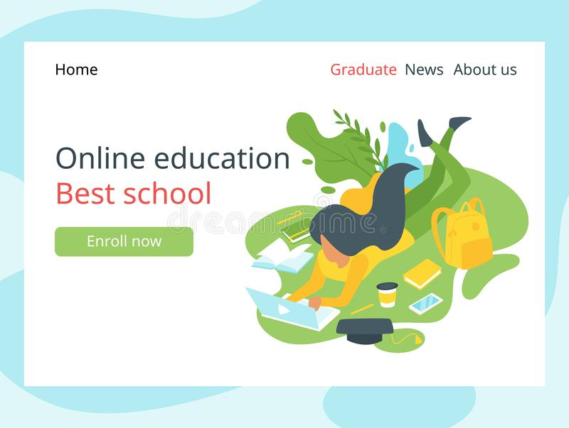 Elearning landing page template stock illustration