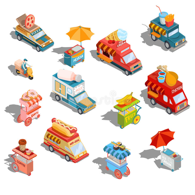 Vector isometric illustrations cars fast delivery of food and food trucks, street fast food carts vector illustration