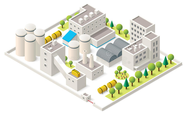 Vector isometric industrial district royalty free illustration