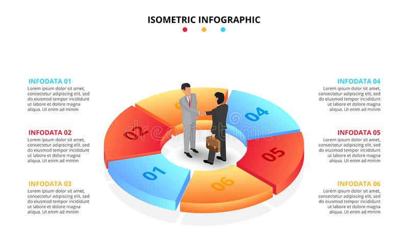 Vector isometric infographic with businessman handshake. Template for diagram, presentation and pie chart. Business vector illustration