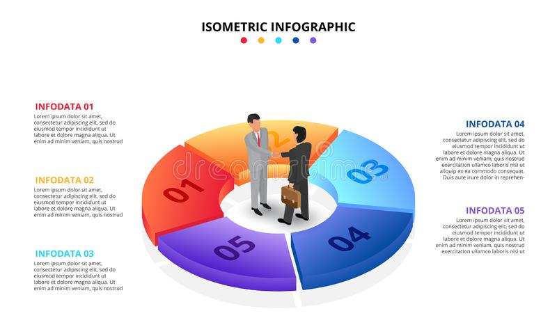 Vector isometric infographic with businessman handshake. Template for diagram, presentation and pie chart. Business. Concept with 5 options, parts, steps or royalty free illustration