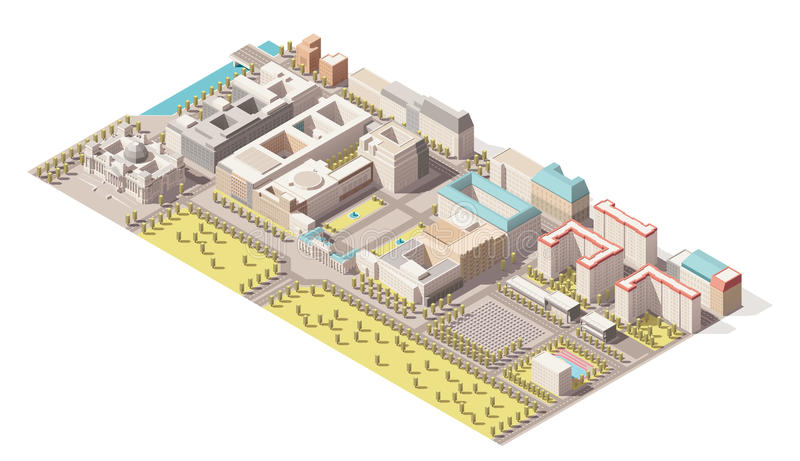 Vector Isometric infographic element representing low poly map of Berlin, Germany royalty free illustration