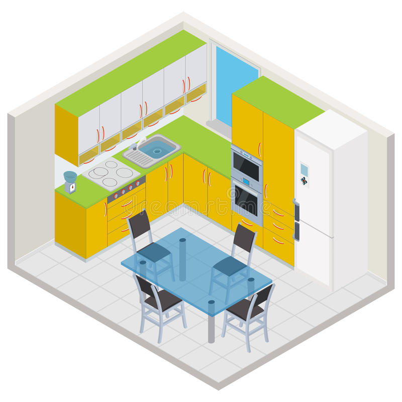 Vector isometric kitchen interior royalty free illustration