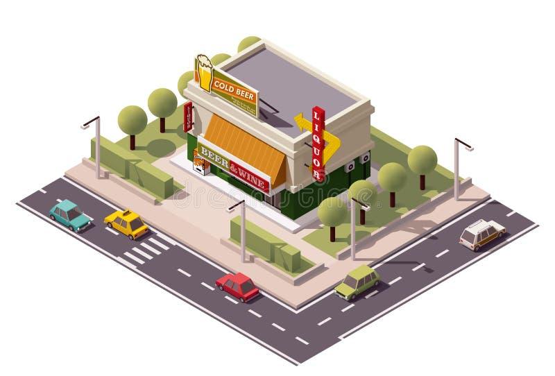 Vector isometric liquor store. Building royalty free illustration
