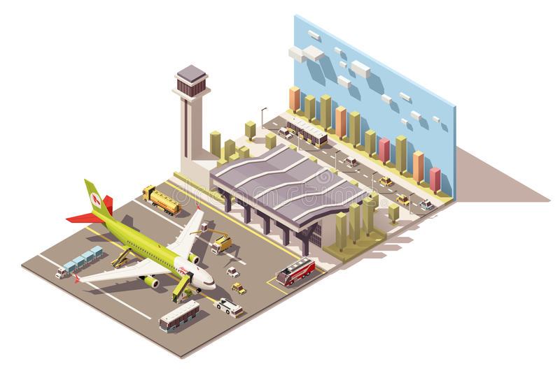 Vector isometric low poly airport terminal building with airplane and Ground Support Equipment. Vector Isometric icon or infographic element representing low royalty free illustration