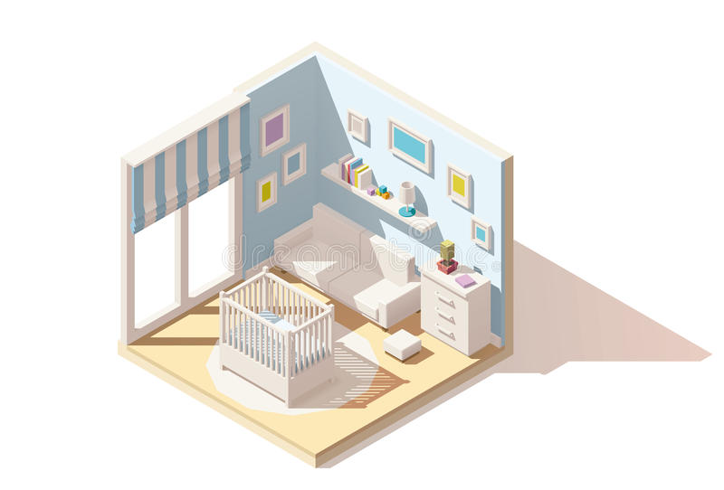 Vector isometric low poly baby room icon. Vector isometric low poly baby room cutaway icon. Room includes baby cradle, cabinet and sofa vector illustration