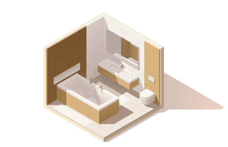 Vector isometric low poly bathroom icon royalty free illustration