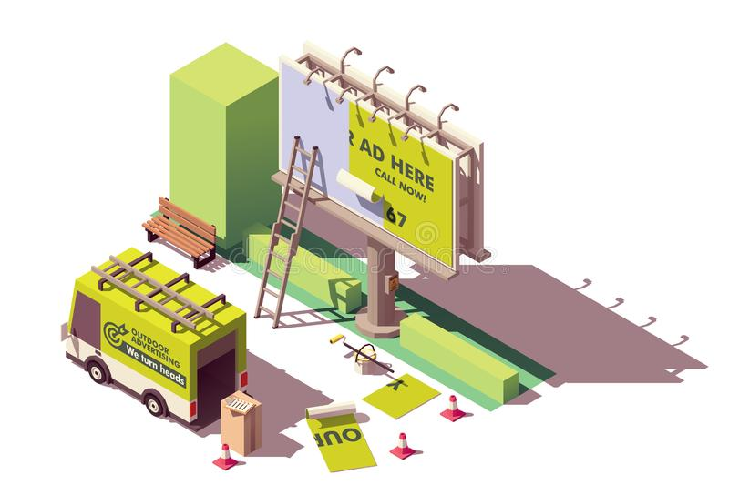 Vector isometric billboard fixing. Vector isometric low poly billboard advertising installation illustration, includes billboard, ladder, bucket with glue royalty free illustration