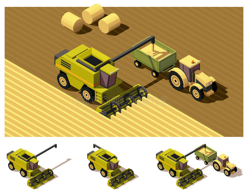 Vector isometric low poly combine harvester mowing. Vector isometric low poly combine harvester working in field vector illustration