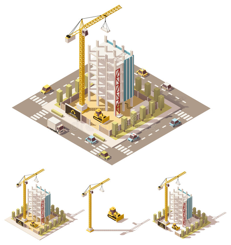 Vector isometric low poly construction site vector illustration