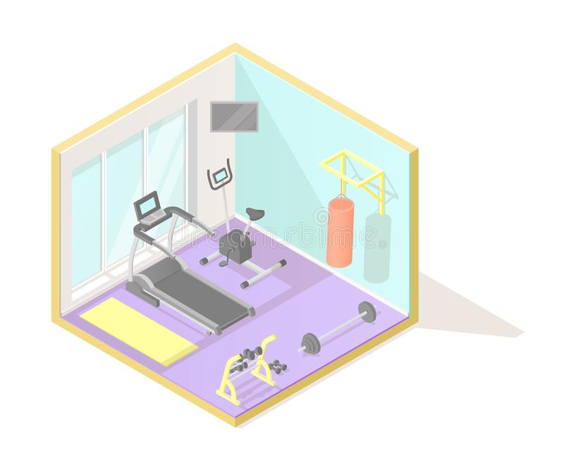 Vector isometric low poly cutaway interior illustartion. Home fitness or gym room stock illustration