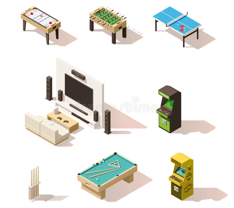Vector isometric low poly games set stock illustration