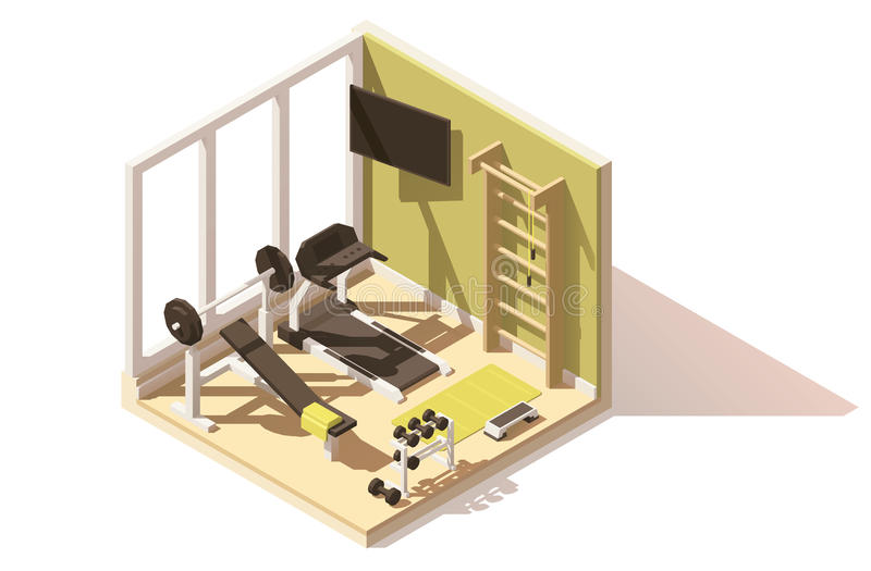 Vector isometric low poly gym oom icon royalty free illustration