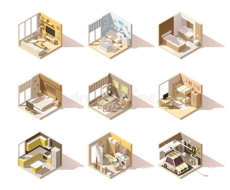 Vector isometric low poly home rooms set royalty free illustration