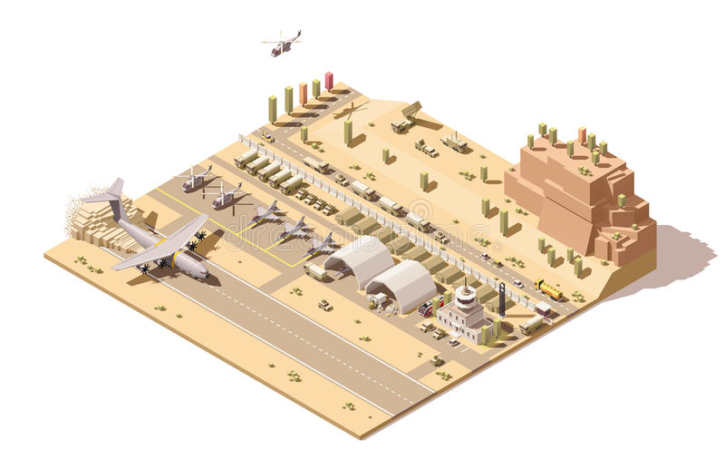 Vector isometric low poly infographic element representing map of military airport or airbase with jet fighters stock illustration