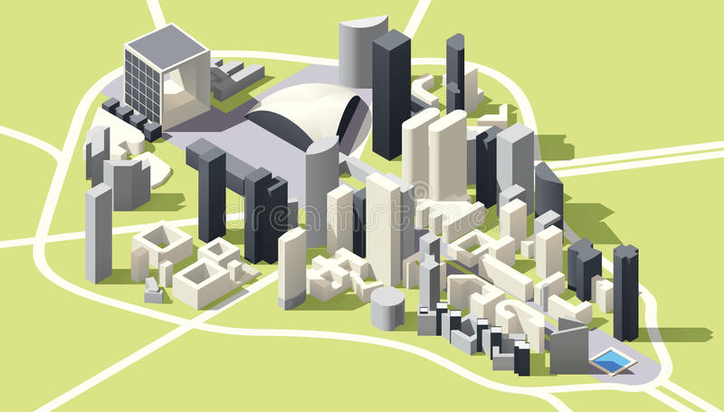 Vector Isometric low poly La Defense district map in Paris. Isometric low poly Map of La Defense business district in Paris, France royalty free illustration