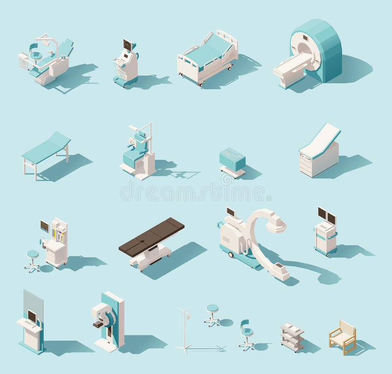 Vector isometric low poly medical equipment set vector illustration