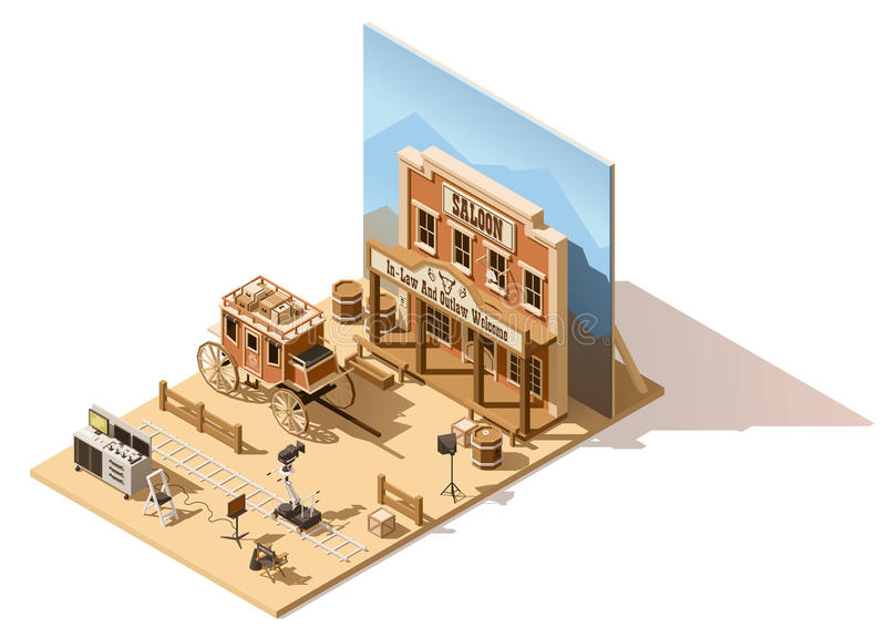 Vector isometric low poly movie set stock illustration