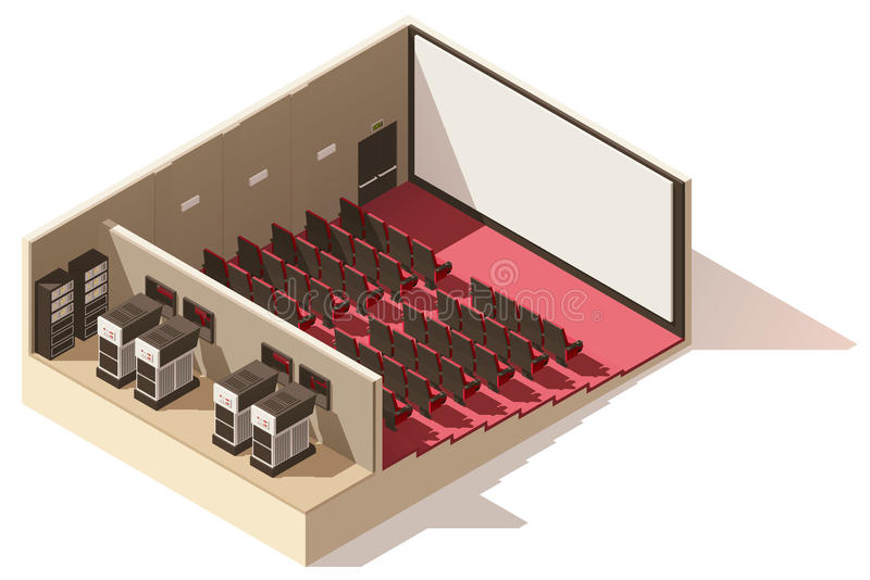 Vector isometric low poly movie theater cutaway royalty free illustration