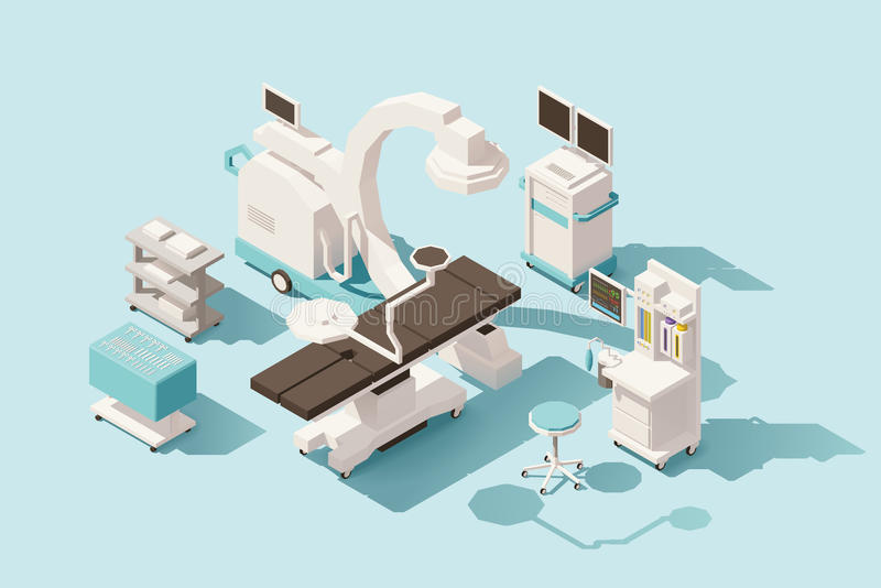 Vector isometric low poly operating room. Vector isometric low poly hospital operating room. Includes operating table, x-ray scanner, anesthesia machine and royalty free illustration