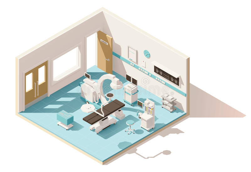 Vector isometric low poly operating room. Vector isometric low poly hospital operating room. Includes operating table, x-ray scanner, anesthesia machine and vector illustration